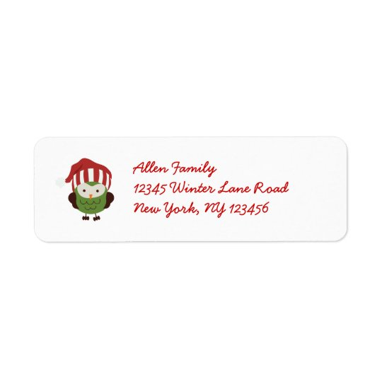 Cute Winter Mod Owl Christmas Return Address Label