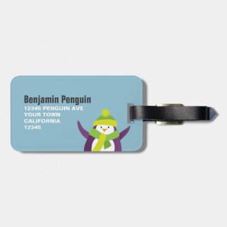 Cute Winter Penguin Personalized Luggage Tag