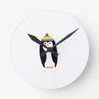 CUTE WINTER PENGUIN ROUND CLOCK