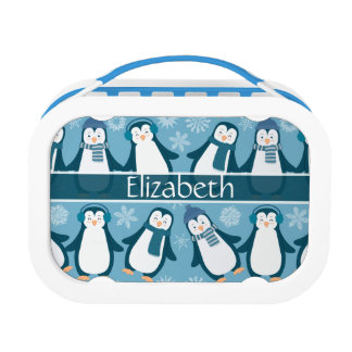 Cute Winter Penguins Design Add Name Lunch Box