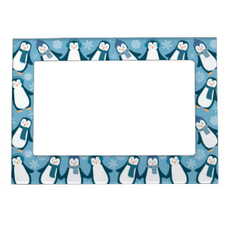 Cute Winter Penguins Design Magnetic Picture Frame