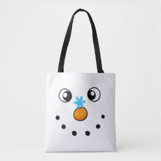 cute winter snowman and snowflake - festive tote bag