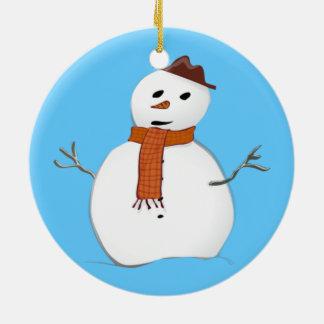 Cute Winter Snowman Blue Christmas Round Ceramic Decoration