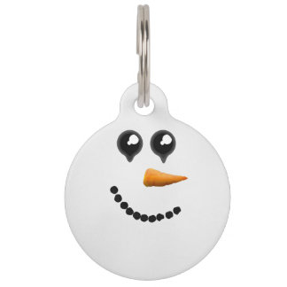 Cute Winter Snowman Face Pet ID Tag
