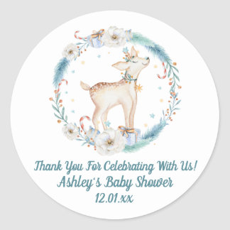 Cute Winter Woodland Baby Shower Classic Round Sticker