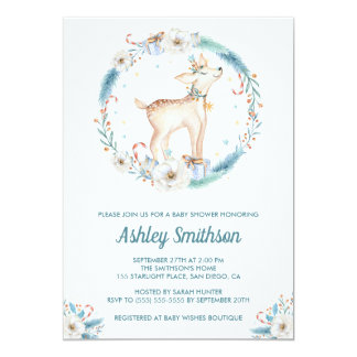 Cute Winter Woodland Baby Shower Invitation