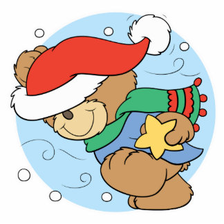 Cute Wintery Christmas Bear Standing Photo Sculpture