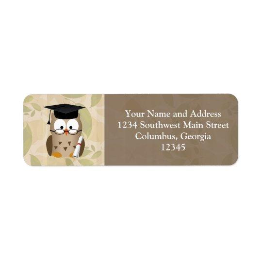 Cute Wise Owl Graduate Return Address Label