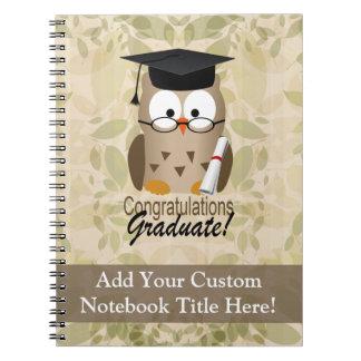 Cute Wise Owl Graduate Spiral Note Books