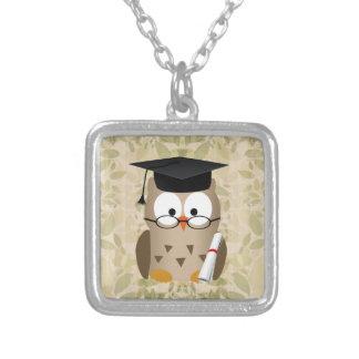 Cute Wise Owl Graduate Square Pendant Necklace