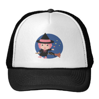Cute Witch and Black Cat on Flying Broom Trucker Hat