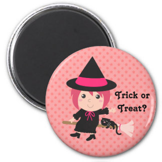 Cute Witch and Black Cat on Flying Broom Refrigerator Magnets