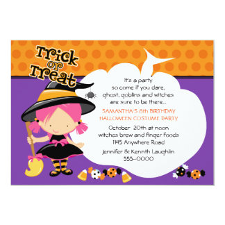 Cute Witch and Candy Halloween Birthday Card