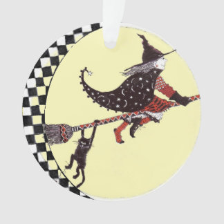 Cute Witch and Cat On Broom Ornament
