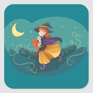 cute witch and cat square sticker
