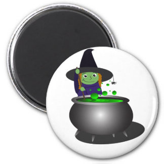 Cute Witch at Cauldron Refrigerator Magnet