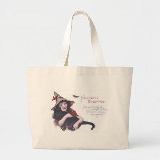 Cute Witch Black Cat Bat Jumbo Tote Bag