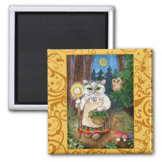 Cute Witch Cat Enchanted Forest spoof magnet