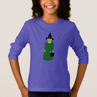 Cute Witch Cat Girls' T-Shirt