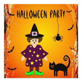 Cute Witch, Cat & Spider Halloween Party Invites