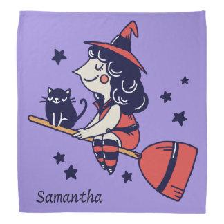 Cute Witch custom name Halloween bandana