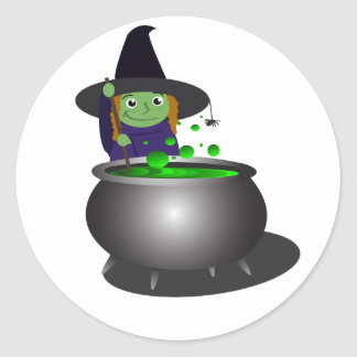 Cute Witch Halloween Classic Round Sticker