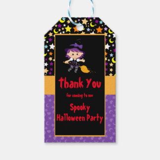 Cute Witch Halloween Costume Party Gift Tags
