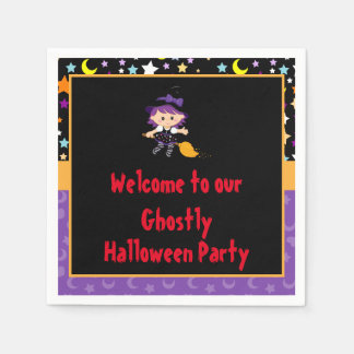 Cute Witch Halloween Costume Party Paper Napkins