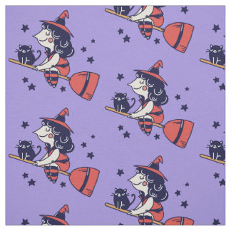 Cute Witch Halloween fabric