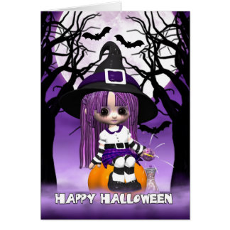 Cute Witch Halloween Greeting Card