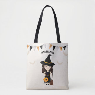 Cute Witch Halloween Party Tote Bag