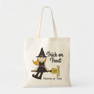Cute Witch Halloween Trick or Treat Personalized Budget Tote Bag
