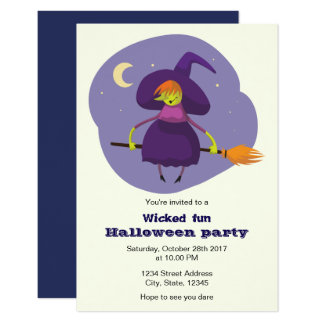 Cute witch kids halloween party invitation