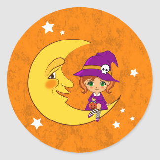 Cute witch sitting on the moon classic round sticker