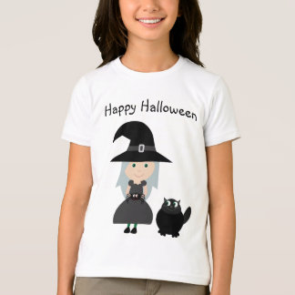 Cute Witch, Spider & Cat Happy Halloween T-Shirt
