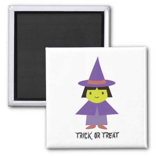 Cute Witch - Trick or Treat Refrigerator Magnet