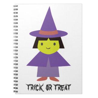 Cute Witch - Trick or Treat Spiral Note Book