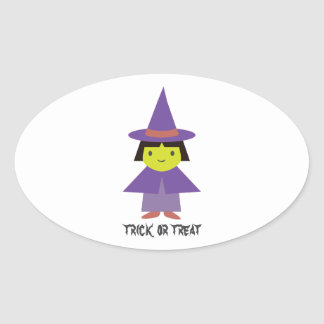 Cute Witch - Trick or Treat Oval Sticker