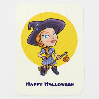 Cute witch with broom halloween cartoon baby baby blanket