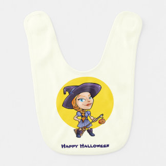 Cute witch with broom halloween cartoon baby bib