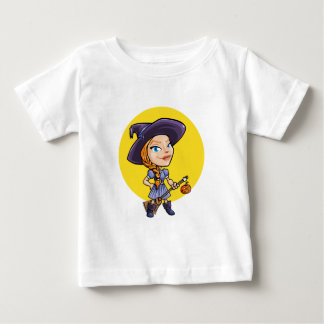 Cute witch with broom halloween cartoon baby shirt
