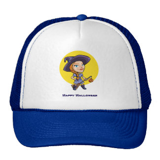 Cute witch with broom halloween cartoon cap