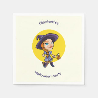 Cute witch with broom halloween cartoon disposable napkins