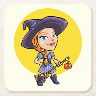 Cute witch with broom halloween cartoon square paper coaster