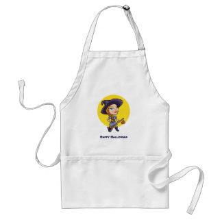 Cute witch with broom halloween cartoon standard apron