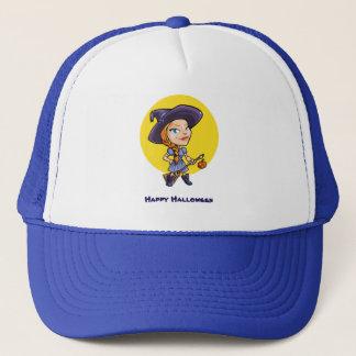 Cute witch with broom halloween cartoon trucker hat