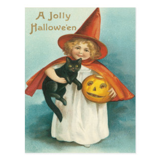Cute Witch With Cat Vintage Postcard