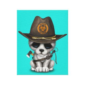 Cute Wolf Cub Zombie Hunter Canvas Print