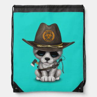 Cute Wolf Cub Zombie Hunter Drawstring Bag