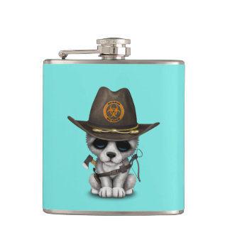 Cute Wolf Cub Zombie Hunter Hip Flask